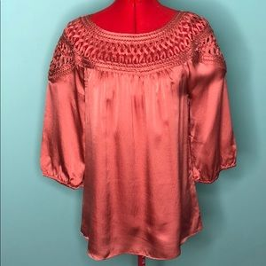 SUNDANCE Coral/ copper silk woven ribbon top GUC